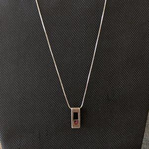 Silver with Pink Diamond Neckalce